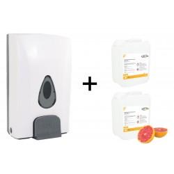 SADA 1: Nástěnný dávkovač + 2x 2,5 l dezinfekčního prostředku, neoLab