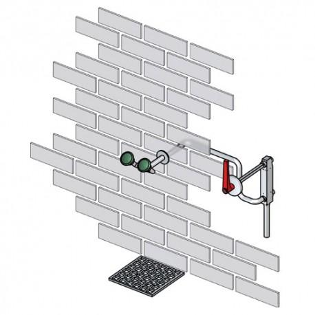 Mrazuvzdorná oční sprcha k zabudování do stěny, nerez
