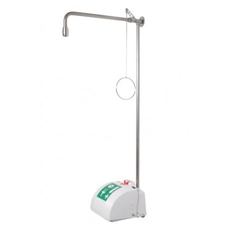 Tělní nerezová sprcha s kompaktní oční/obličejovou sprchou, s miskou a krytem, na omítku