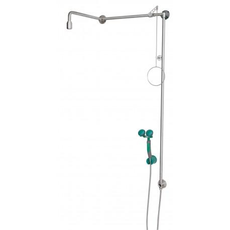 Tělní nerezová sprcha s ruční oční sprchou se dvěma hlavicemi, nad dveře, na omítku