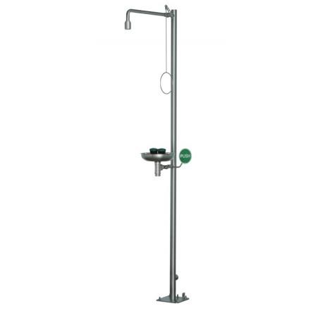 Volně stojící nerezová tělní sprcha s kompaktní oční sprchou, s miskou